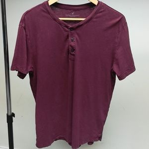 Men's American Eagle Red Henley Shirt